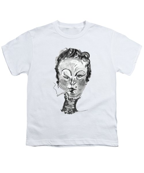 The Smoker - Black And White Youth T-Shirt by Marian Voicu