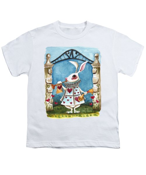 The White Rabbit Announcing Youth T-Shirt by Lucia Stewart