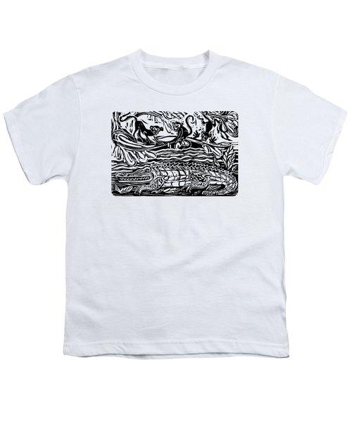 Three Little Monkeys  Youth T-Shirt by Katherine Nutt