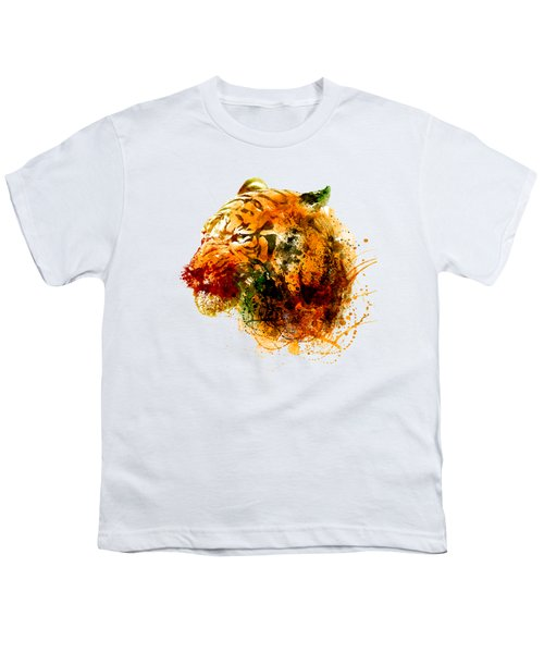 Tiger Side Face Youth T-Shirt by Marian Voicu
