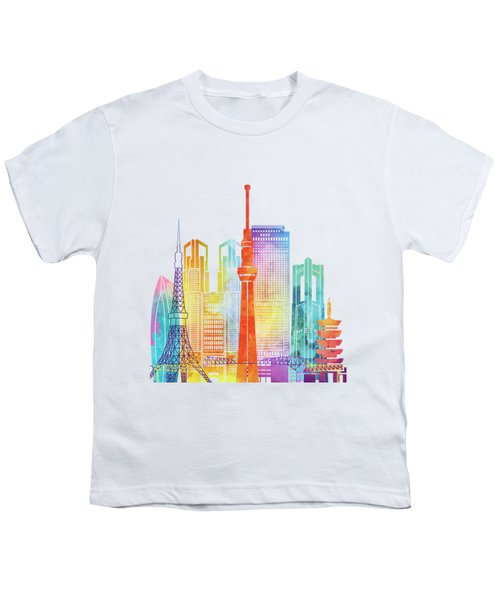 Tokyo Landmarks Watercolor Poster Youth T-Shirt
