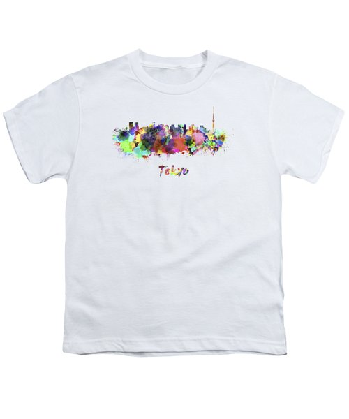 Tokyo V2 Skyline In Watercolor Youth T-Shirt by Pablo Romero
