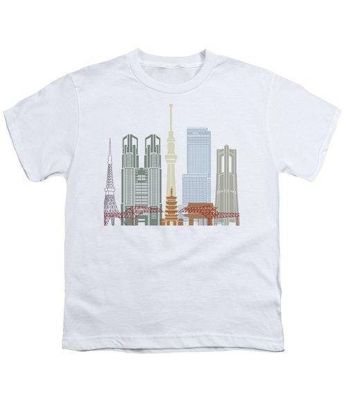 Tokyo V2 Skyline Poster Youth T-Shirt by Pablo Romero