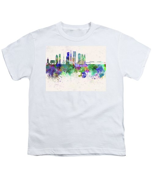 Tokyo V3 Skyline In Watercolor Background Youth T-Shirt by Pablo Romero