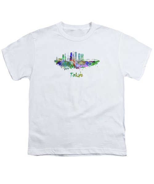 Tokyo V3 Skyline In Watercolor Youth T-Shirt by Pablo Romero