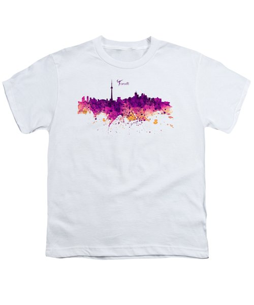 Toronto Watercolor Skyline Youth T-Shirt by Marian Voicu