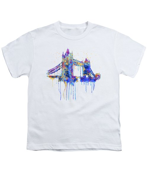 Tower Bridge Watercolor Youth T-Shirt by Marian Voicu