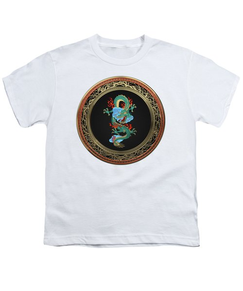 Treasure Trove - Turquoise Dragon Over White Leather Youth T-Shirt by Serge Averbukh