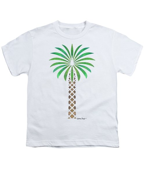 Tribal Canary Date Palm Youth T-Shirt by Heather Schaefer