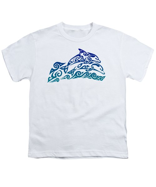 Tribal Dolphins Youth T-Shirt by Rebecca Wang