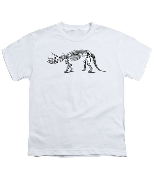 Triceratops Dinosaur Tee Youth T-Shirt by Edward Fielding