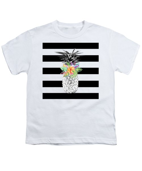 Tropical Flower Pineapple Black And White Stripes Youth T-Shirt by Dushi Designs