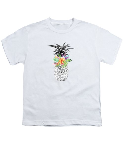 Tropical Pineapple Flowers Aqua Youth T-Shirt by Dushi Designs