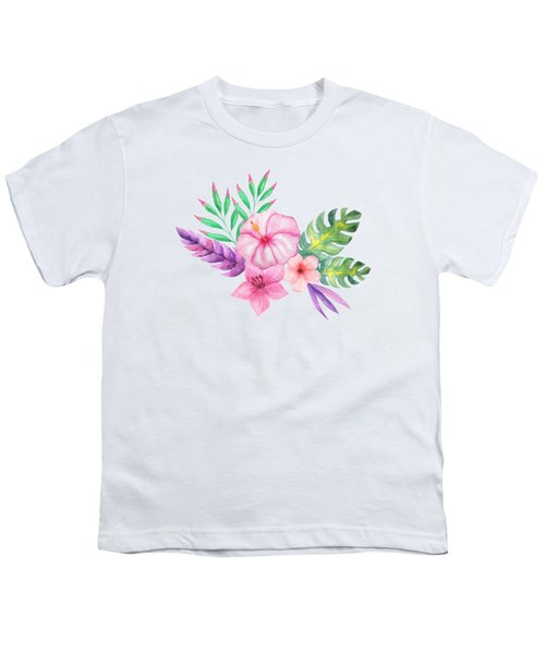 Tropical Watercolor Bouquet 1 Youth T-Shirt