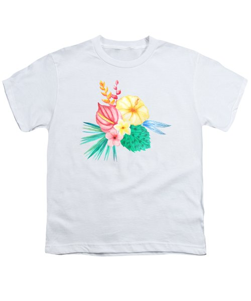 Tropical Watercolor Bouquet 2 Youth T-Shirt