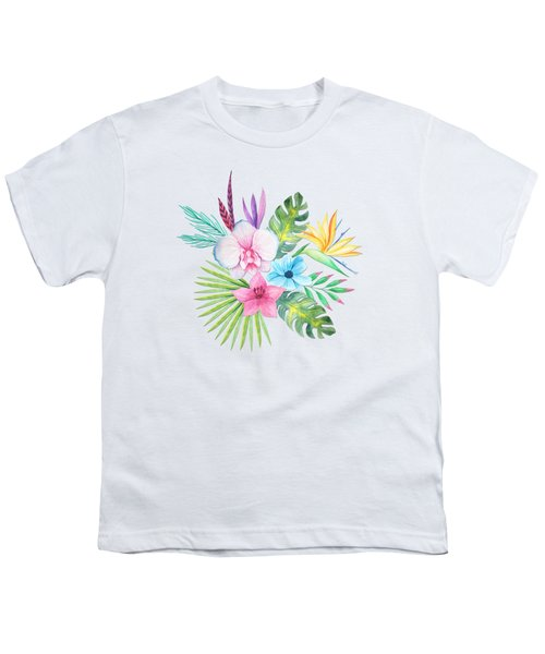 Tropical Watercolor Bouquet 3 Youth T-Shirt