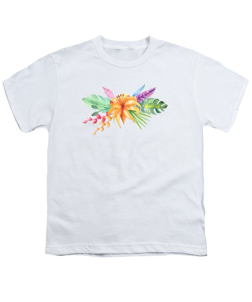 Tropical Watercolor Bouquet 4 Youth T-Shirt