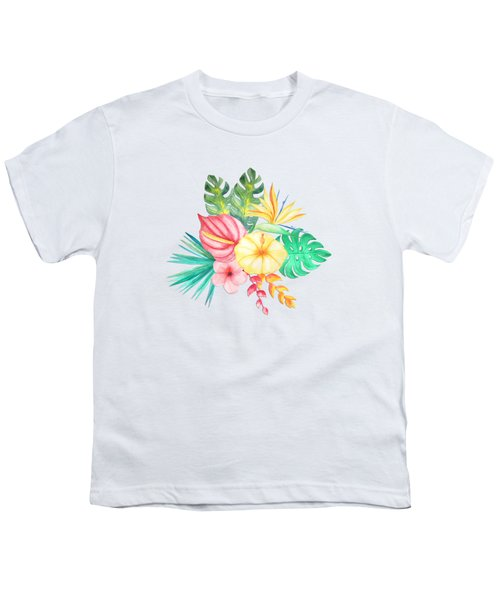 Tropical Watercolor Bouquet 6 Youth T-Shirt