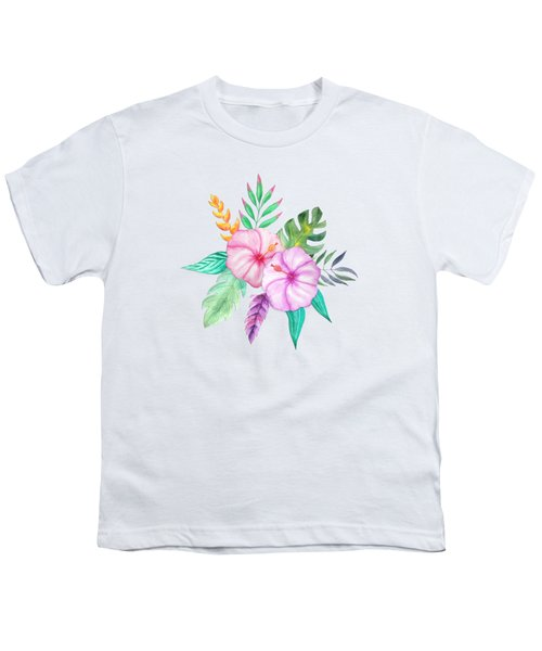 Tropical Watercolor Bouquet 78 Youth T-Shirt