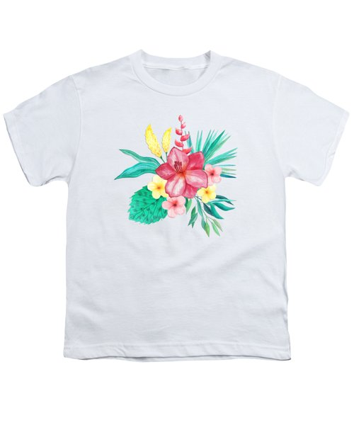 Tropical Watercolor Bouquet 9 Youth T-Shirt