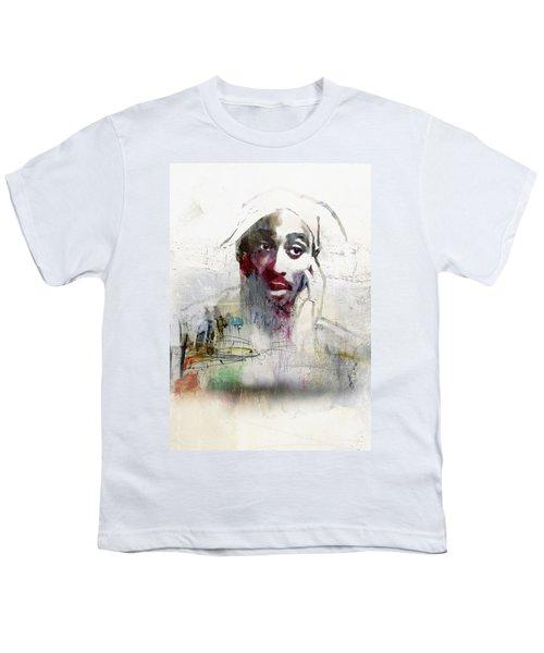 Tupac Graffitti 2656 Youth T-Shirt by Jani Heinonen