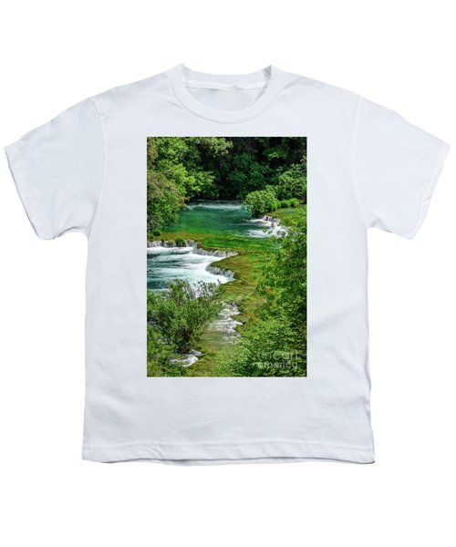 Turqouise Waterfalls Of Skradinski Buk At Krka National Park In Croatia Youth T-Shirt