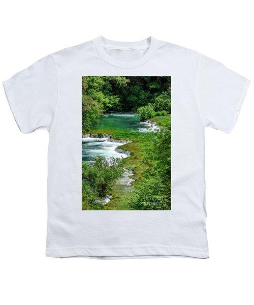Turqouise Waterfalls Of Skradinski Buk At Krka National Park In Croatia Youth T-Shirt