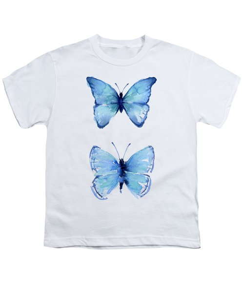 Two Blue Butterflies Watercolor Youth T-Shirt