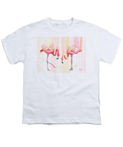Two Flamingos Watercolor Youth T-Shirt