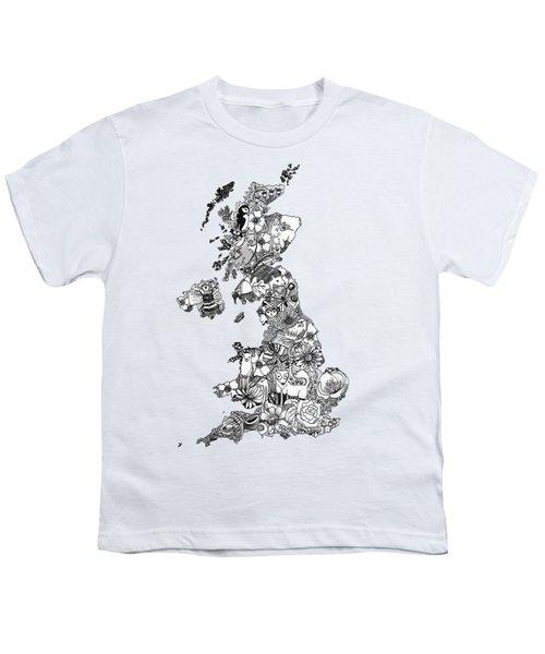 Uk Map Youth T-Shirt by Hannah Edge