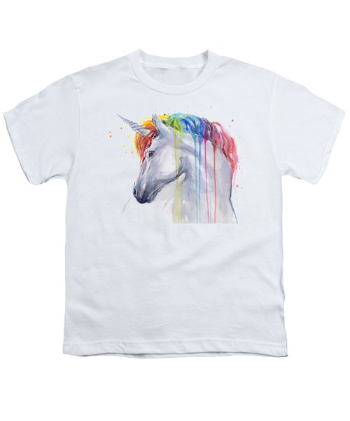 Unicorn Rainbow Watercolor Youth T-Shirt by Olga Shvartsur