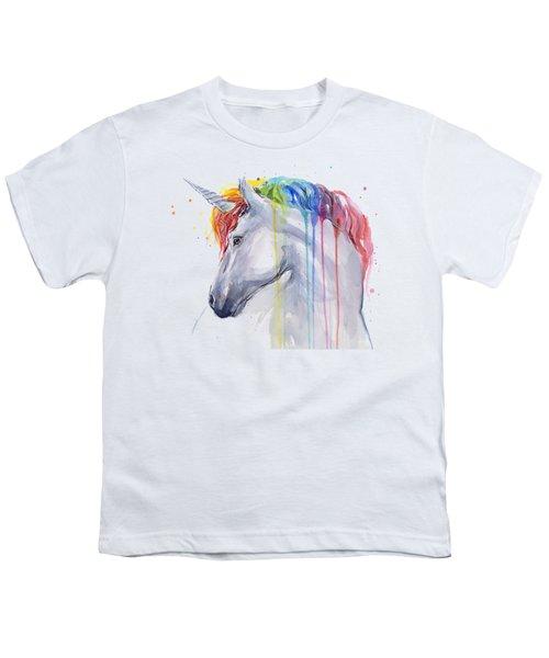Unicorn Rainbow Watercolor Youth T-Shirt