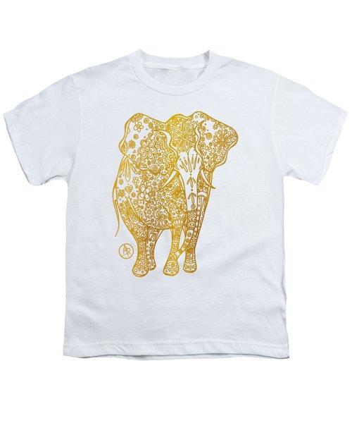 Unique Golden Elephant Art Drawing By Megan Duncanson Youth T-Shirt by Megan Duncanson
