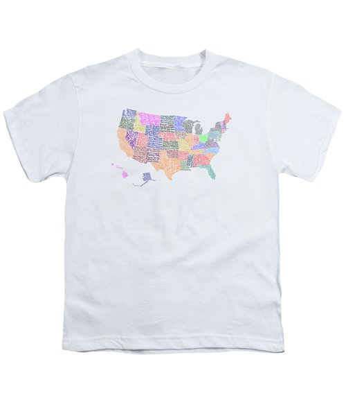 United States Musicians Map Youth T-Shirt
