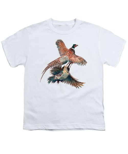 Up And Away Partridge And Pheasant Youth T-Shirt by Richard Skilton