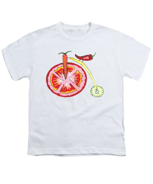 Veggie Bike Youth T-Shirt by Kathleen Sartoris