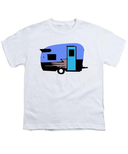 Vintage Camper Trailer Pop Art Blue Youth T-Shirt by Edward Fielding