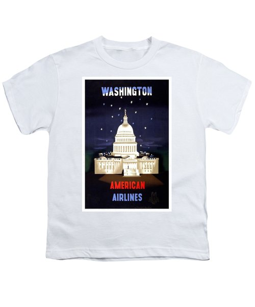 Washington, American Airlines - Retro Travel Poster - Vintage Poster Youth T-Shirt