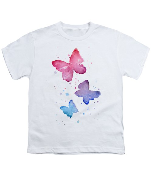Watercolor Butterflies Youth T-Shirt by Olga Shvartsur