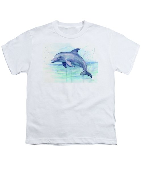Watercolor Dolphin Painting - Facing Right Youth T-Shirt