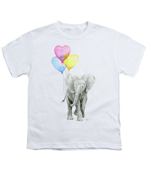 Watercolor Elephant With Heart Shaped Balloons Youth T-Shirt by Olga Shvartsur
