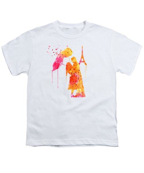 Watercolor Love Couple In Paris Youth T-Shirt by Marian Voicu