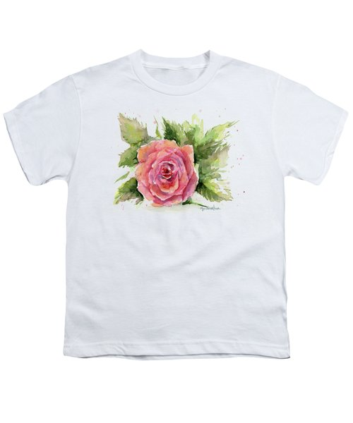 Watercolor Rose Youth T-Shirt