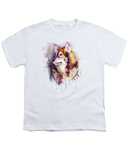 Watercolor Wolf Portrait Youth T-Shirt