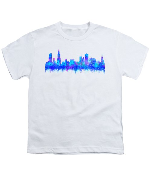 Watercolour Splashes And Dripping Effect Chicago Skyline Youth T-Shirt