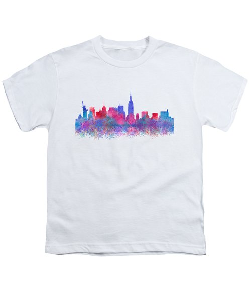 Youth T-Shirt featuring the digital art Watercolour Splashes New York City Skylines by Georgeta Blanaru