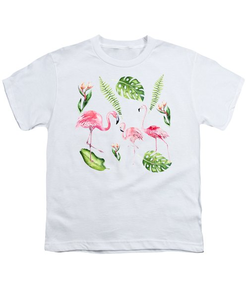 Youth T-Shirt featuring the painting Watercolour Tropical Beauty Flamingo Family by Georgeta Blanaru