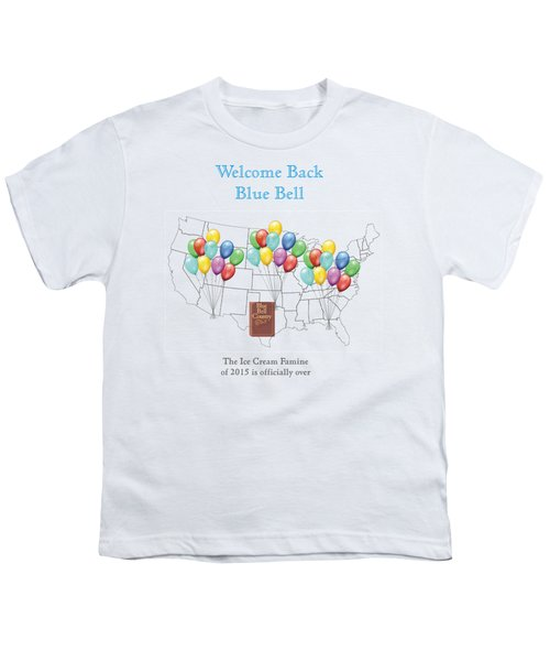 Welcome Back Blue Bell Youth T-Shirt by Jacquie King