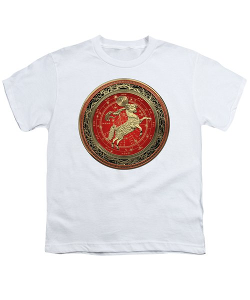 Western Zodiac - Golden Aries -the Ram On White Leather Youth T-Shirt