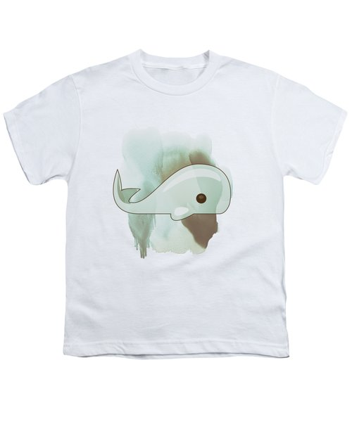 Whale Art - Bright Ocean Life Pastel Color Artwork Youth T-Shirt by Wall Art Prints